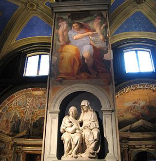 chiesa di sant'agostino - l'affresco di raffaello e la scultura di andrea sansovino